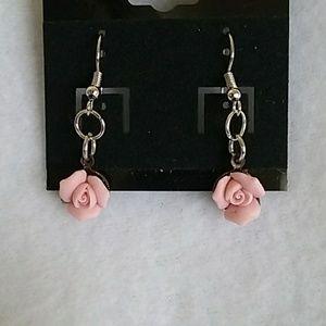 NWT Pink roses hook earrings